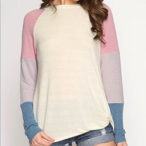 Colorblock pastel sweater